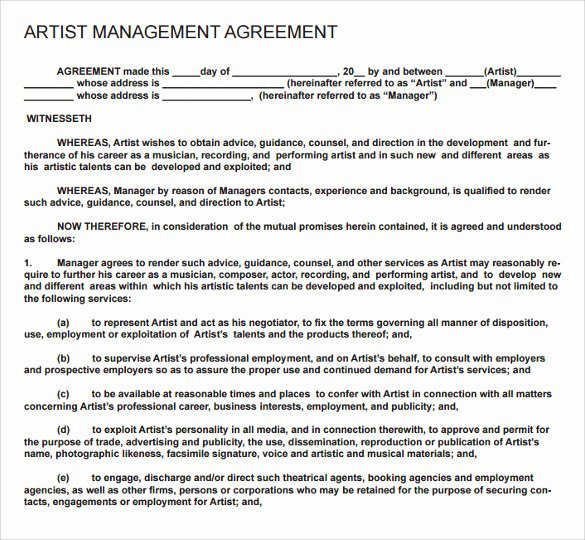 Artist Booking Contract Template New 12 Artist Contract Templates Pages Word Docs