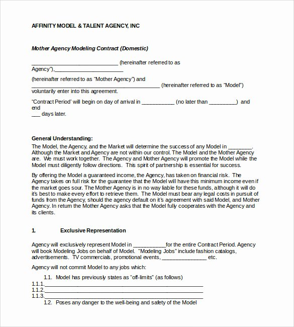 Artist Booking Contract Template Unique 28 Of Model Contract Agreement Template