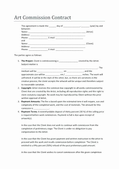 Artist Commission Contract Template Awesome Artist Mission Contract Template – Cordinates