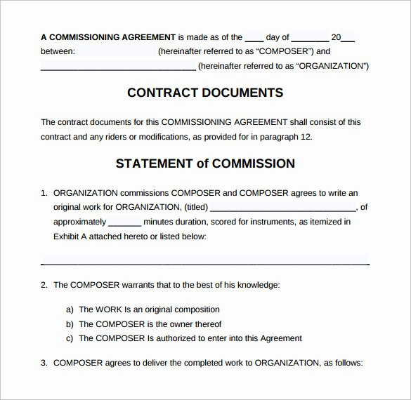 Artist Commission Contract Template Elegant Mission Contract Template 12 Download Free Documents