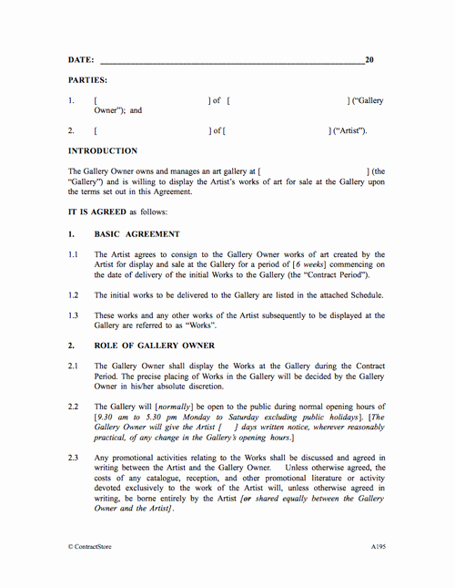 Artist Commission Contract Template Fresh Art Gallery Agreement