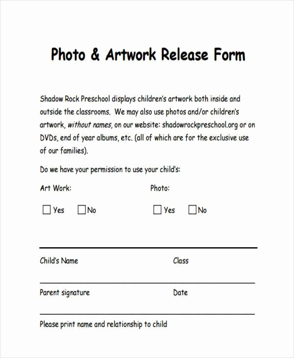 Artwork Release form Template Beautiful Free 8 Sample Artwork Release forms In Pdf