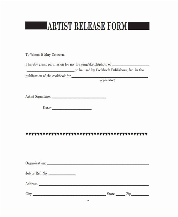 Artwork Release form Template Luxury Free 8 Sample Artwork Release forms In Pdf