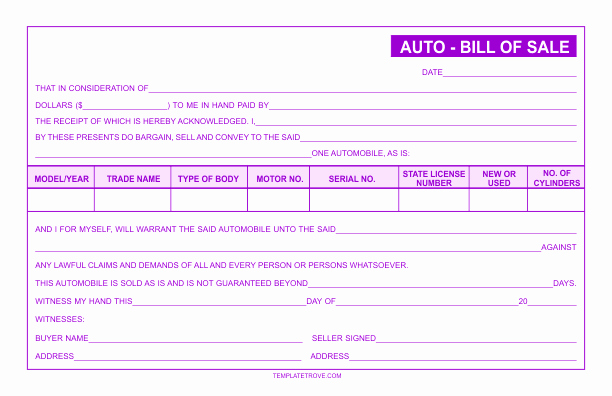 Auto Bill Of Sale Template Awesome Free Business forms Templates