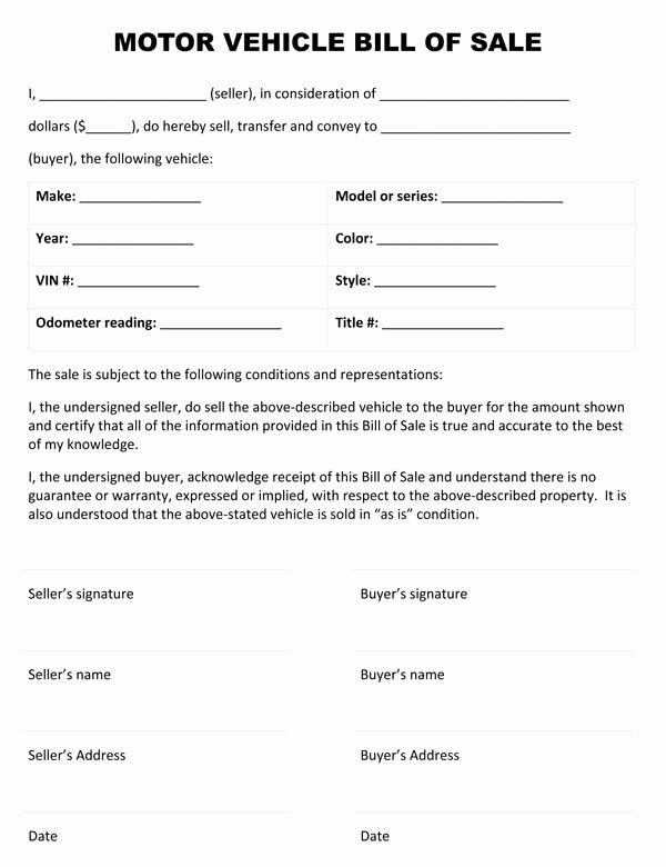 Auto Bill Of Sale Template Awesome Printable Sample Vehicle Bill Of Sale Template form
