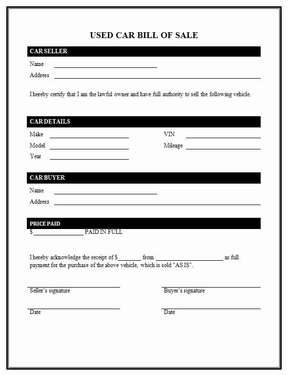 Auto Bill Of Sale Template Awesome Used Car Bill Sale Template