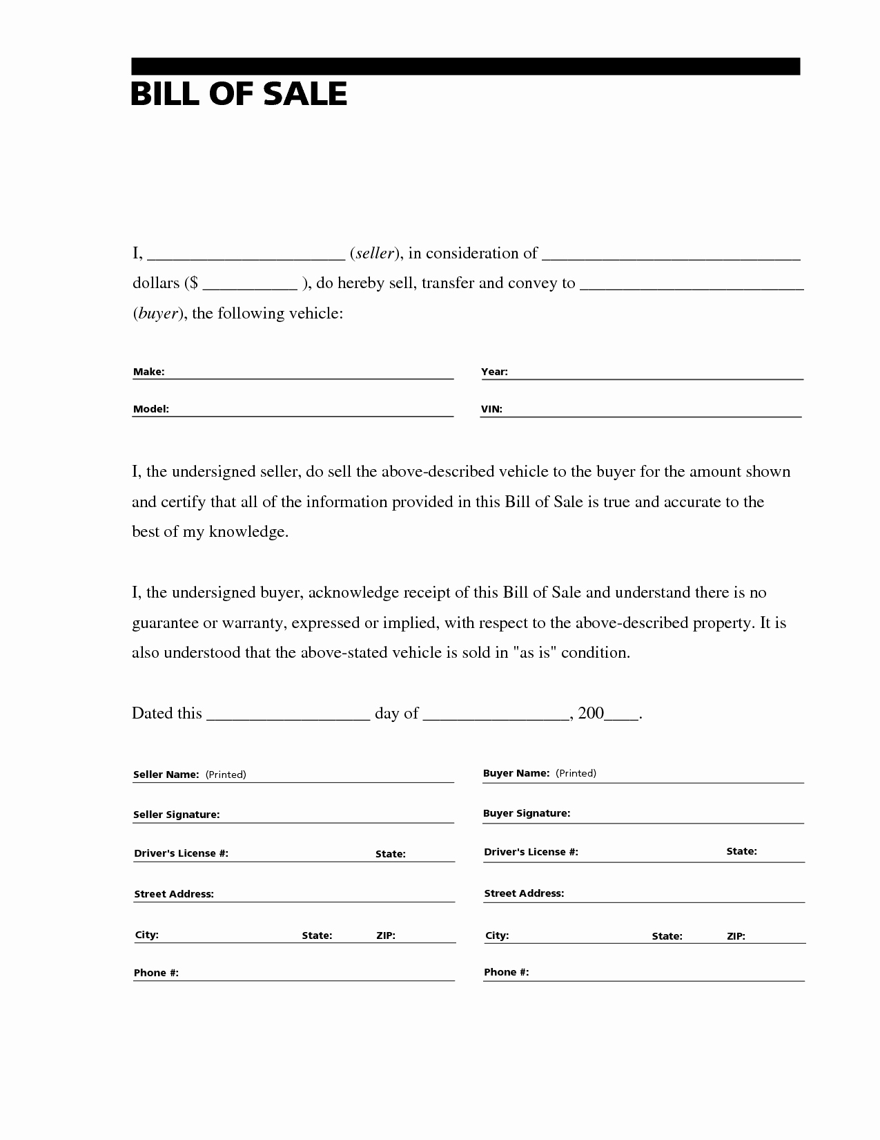 Auto Bill Of Sale Template Best Of Free Printable Vehicle Bill Of Sale Template form Generic