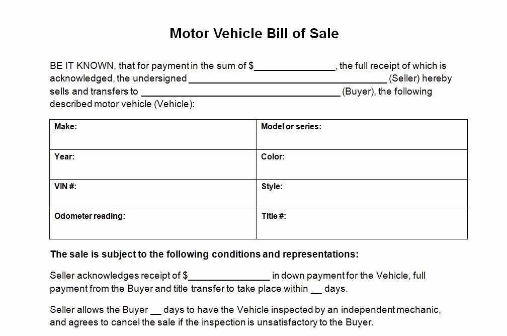 Auto Bill Of Sale Template Elegant Vehicle Bill Sale Template