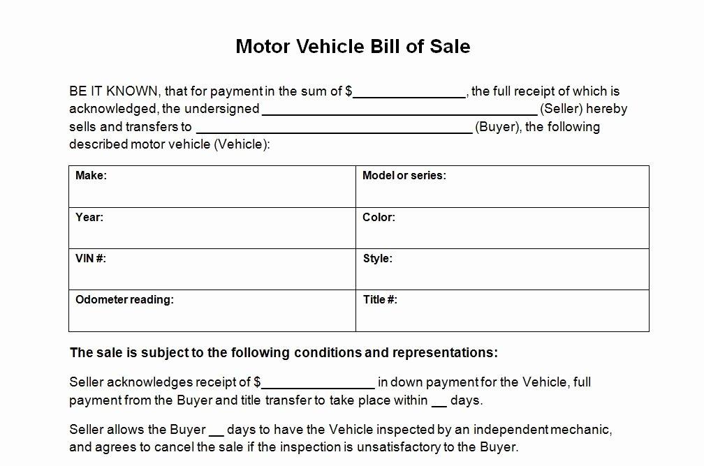 Auto Bill Of Sale Template Elegant Vehicle Bill Sale Template