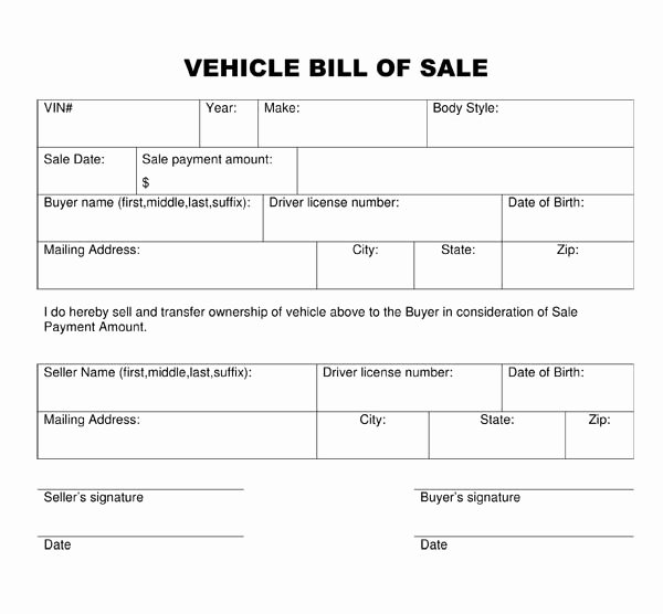 Auto Bill Of Sale Template Fresh Free Printable Vehicle Bill Of Sale Template form Generic