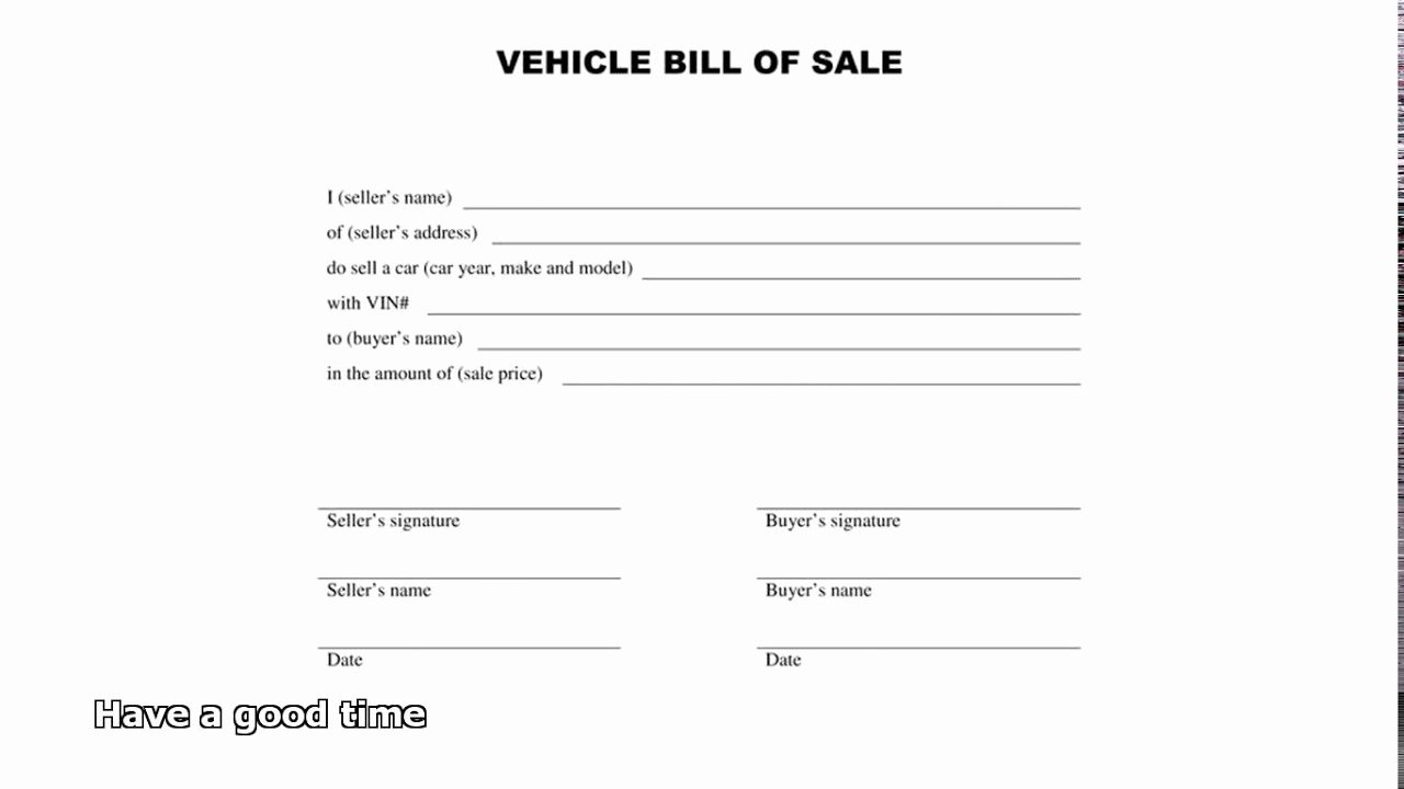 Auto Bill Of Sale Template Lovely Bill Of Sale Car