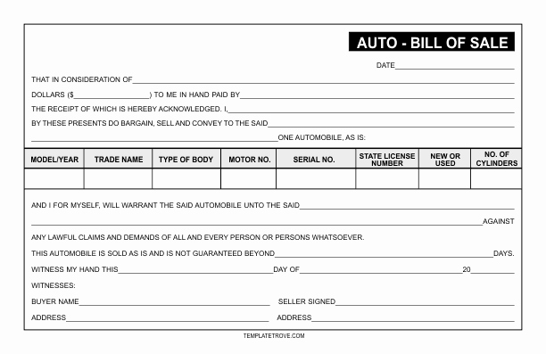 Auto Bill Of Sale Template Luxury Auto Bill Of Sale Template