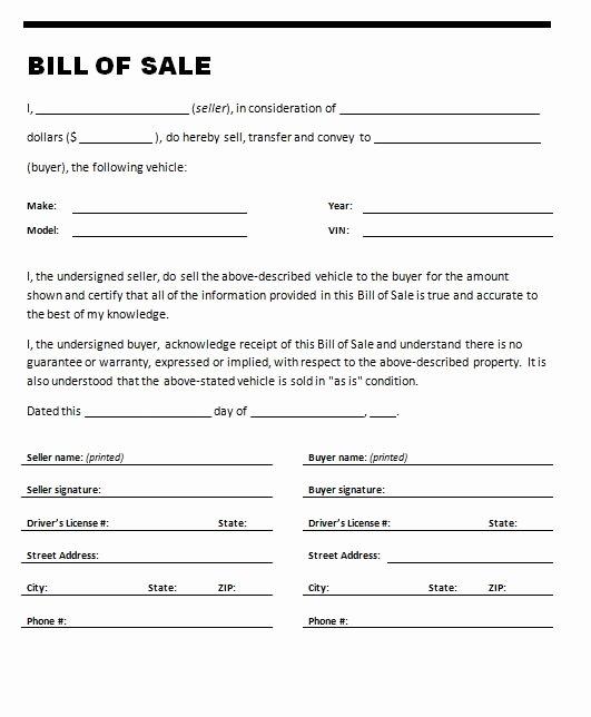 Auto Bill Of Sale Template Luxury Car Bill Sale Template