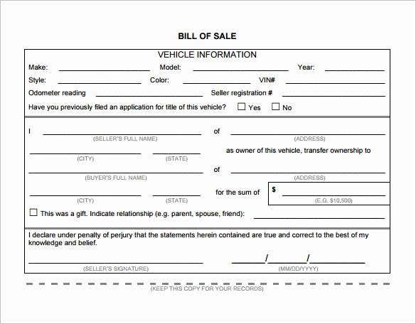 Auto Bill Of Sale Template New Bill Of Sale Template 44 Free Word Excel Pdf