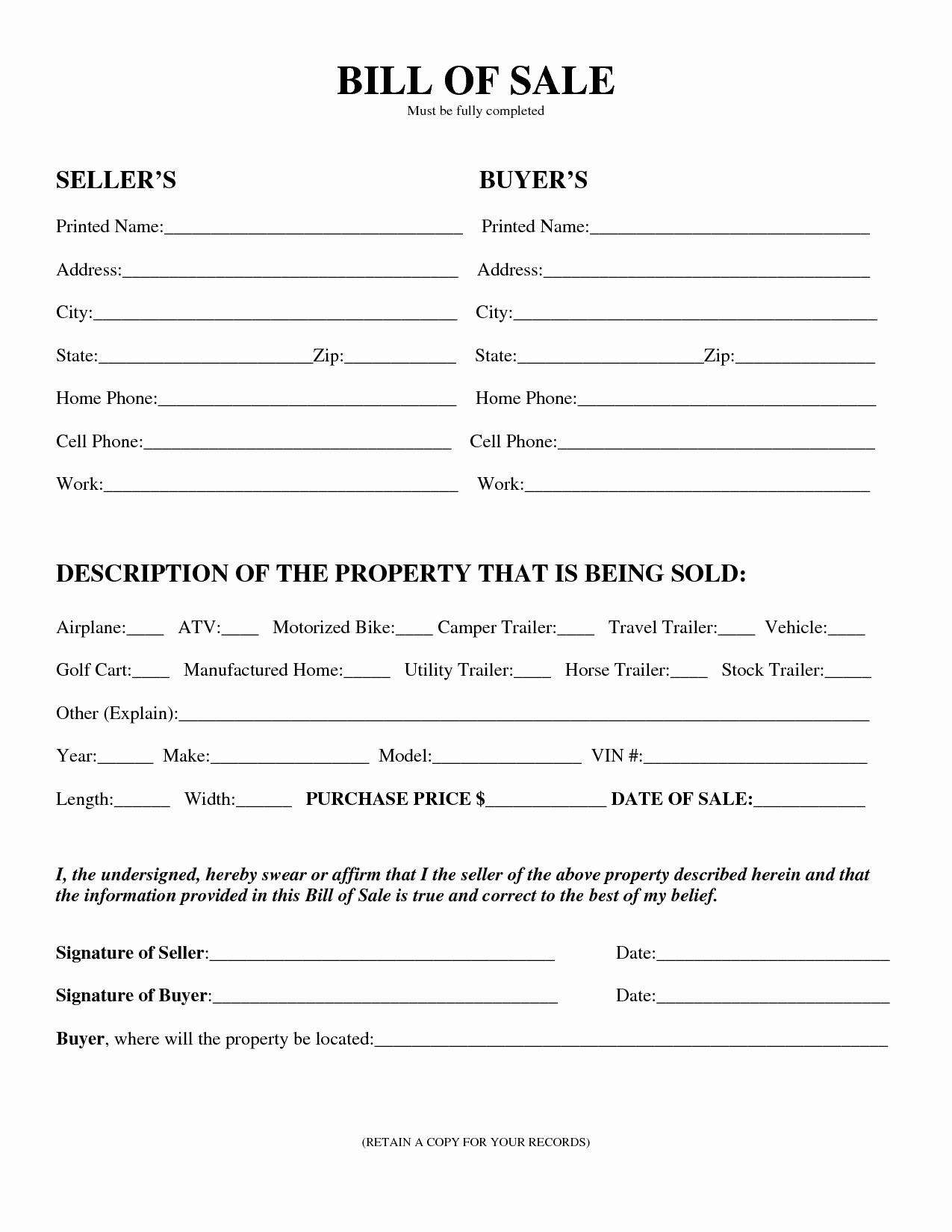 Auto Bill Of Sale Template New Download Bill Sale forms Pdf Templates