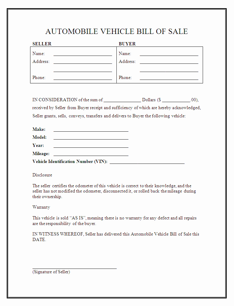 Auto Bill Of Sale Template New Free Printable Vehicle Bill Of Sale Template form Generic