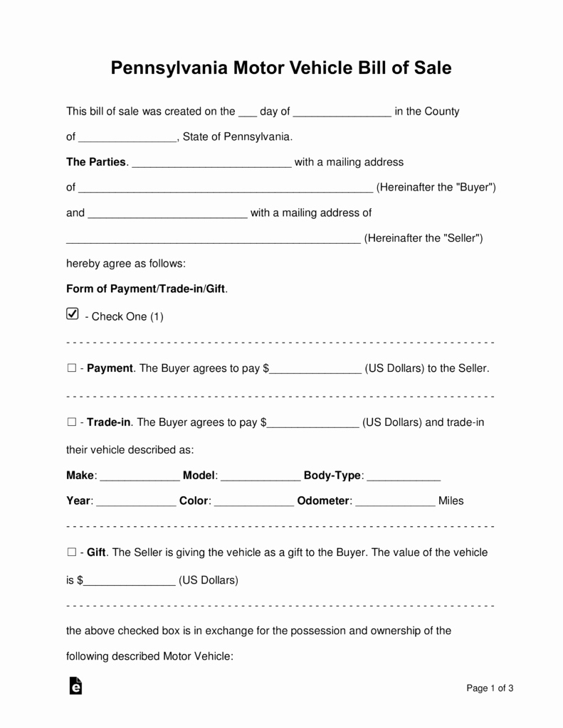 Auto Bill Of Sale Template Unique Free Pennsylvania Motor Vehicle Bill Of Sale form Word