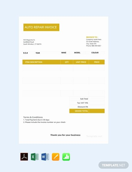 Auto Repair Invoice Template Pdf New 38 Free Business Invoice Templates [download Ready Made