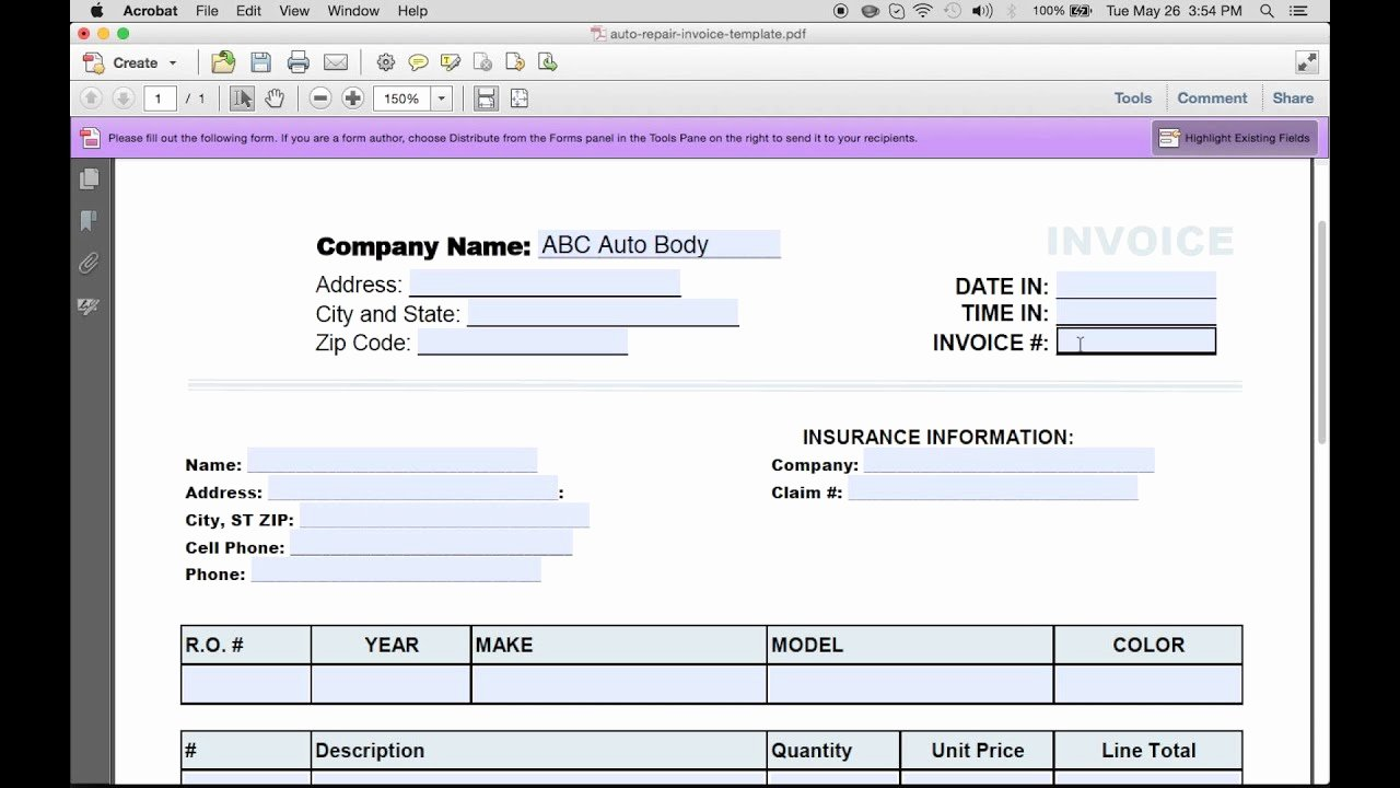 Auto Repair Invoice Template Pdf New How to Make An Auto Repair Invoice Excel Pdf