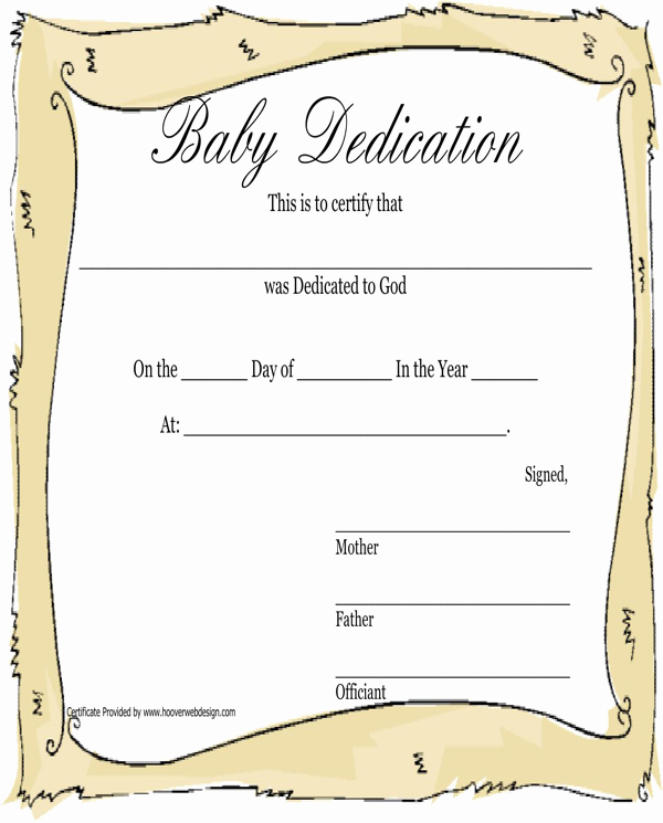 Baby Dedication Certificate Template Awesome Download Baby Dedication Certificate for Free formtemplate