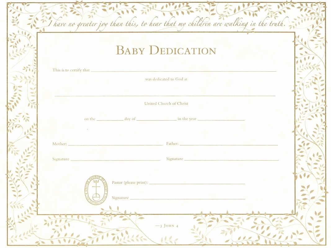Baby Dedication Certificate Template Best Of Baby Dedication Certificate