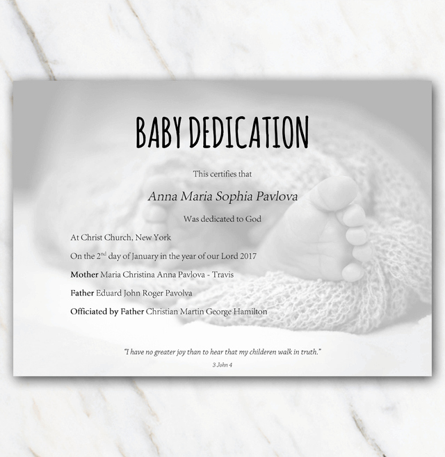 Baby Dedication Certificate Template Best Of Baby Dedication Certificate with Babyfeet In Blanket On