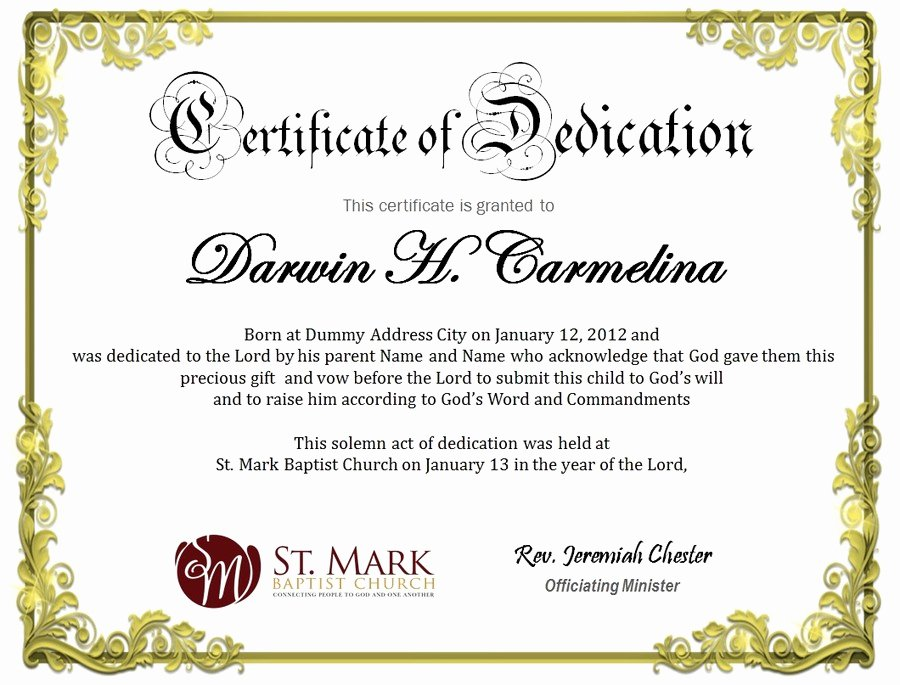 Baby Dedication Certificate Template Elegant Baby Dedication Certificate
