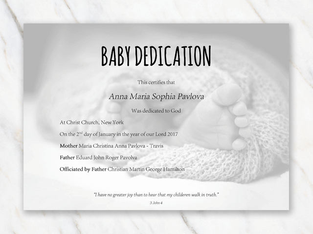 Baby Dedication Certificate Template Fresh Baby Dedication Certificate Template for Word [free Printable]