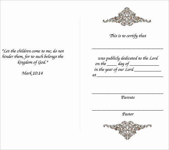 Baby Dedication Certificate Template Inspirational Baby Dedication Certificate Template 21 Free Word Pdf