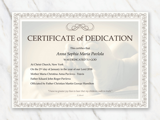 Baby Dedication Certificate Template Inspirational Baby Dedication Certificate Template for Word [free Printable]