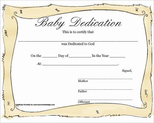 Baby Dedication Certificate Template Lovely Certificate Templates Customizable Design Templates for