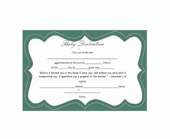 Baby Dedication Certificate Template New 50 Free Baby Dedication Certificate Templates Printable