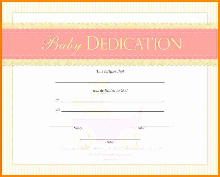 Baby Dedication Certificate Template New Baby Dedication Certificate