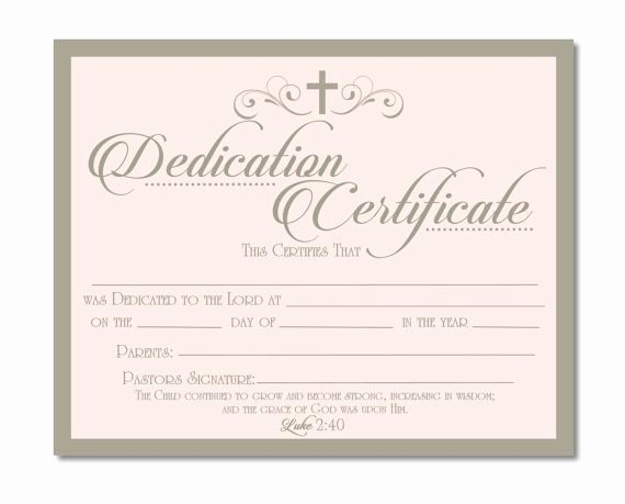 Baby Dedication Certificate Template New Printable Baby Dedication Certificate Digital by