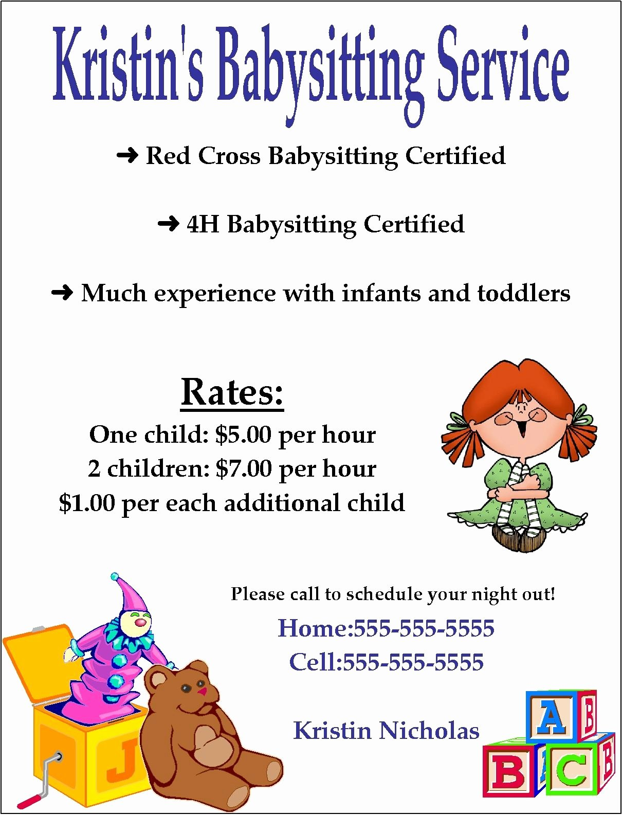 Babysitting Flyer Templates Free Awesome Babysitting Flyer Template Word Google Search