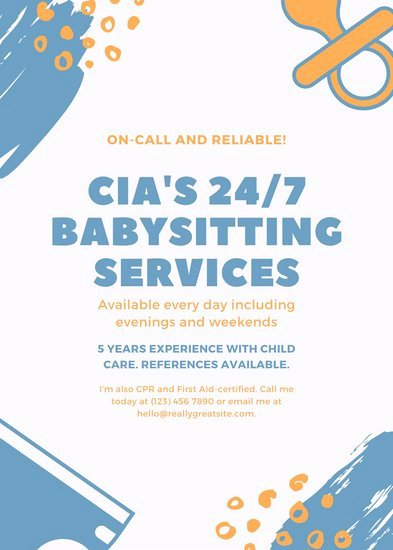 Babysitting Flyer Templates Free Beautiful Customize 11 Babysitting Flyer Templates Online Canva