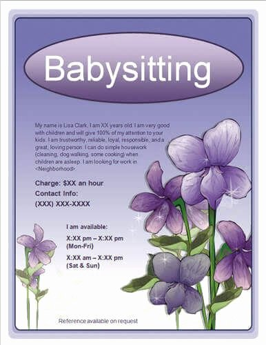 Babysitting Flyer Templates Free Beautiful Free Babysitting Flyers Templates Ideas and Samples
