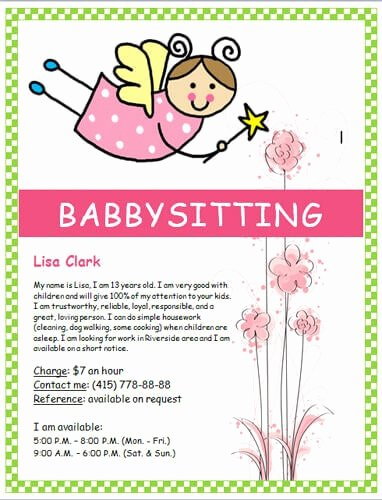 Babysitting Flyer Templates Free Best Of Babysitting Flyers and Ideas [16 Free Templates]