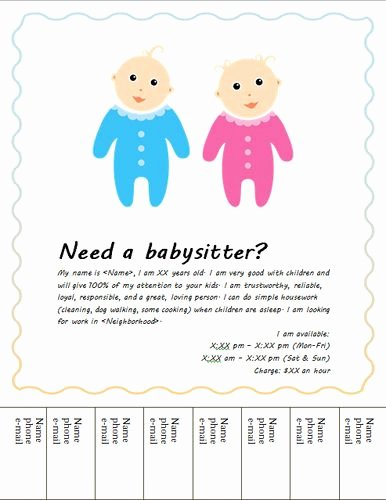 Babysitting Flyer Templates Free Inspirational Cute Kids Babysitter Flyer Babysitting