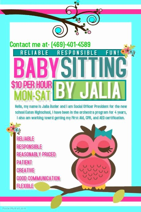 Babysitting Flyer Templates Free Lovely 10 Best Images About Gabi Babysitting On Pinterest
