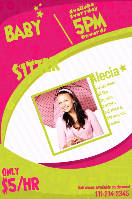 Babysitting Flyer Templates Free Lovely Customize 270 Babysitting Flyer Templates