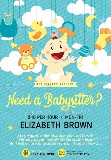 Babysitting Flyer Templates Free New Babysitting Psd Flyer Template Styleflyers