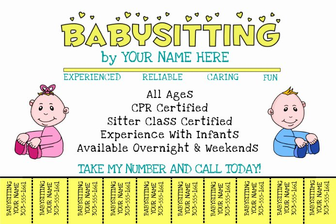Babysitting Flyer Templates Free New Babysitting Template
