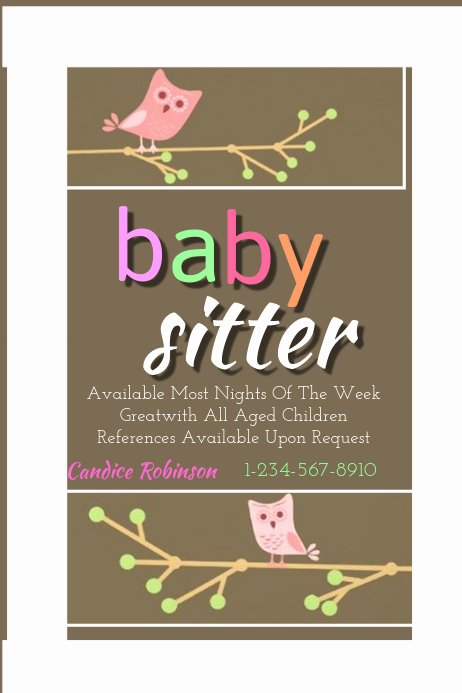 Babysitting Flyer Templates Free Unique Baby Sitting Flyer Template