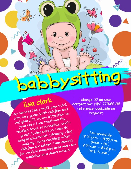 Babysitting Flyer Templates Free Unique Babysitting Flyer Template