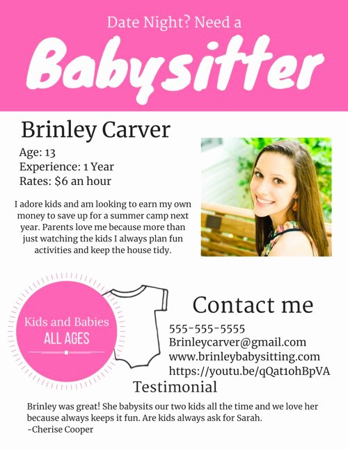 Babysitting Flyer Templates Free Unique How to Get Teen Babysitting Jobs
