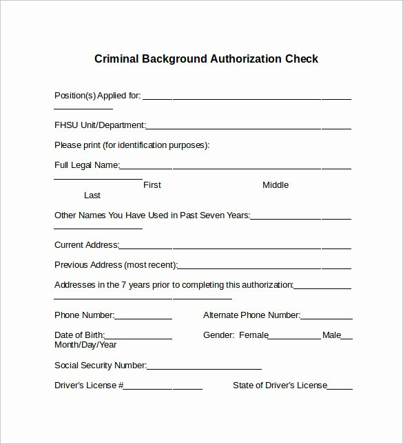 Background Check Authorization form Template Awesome Background Check form 7 Download Free Documents In Pdf