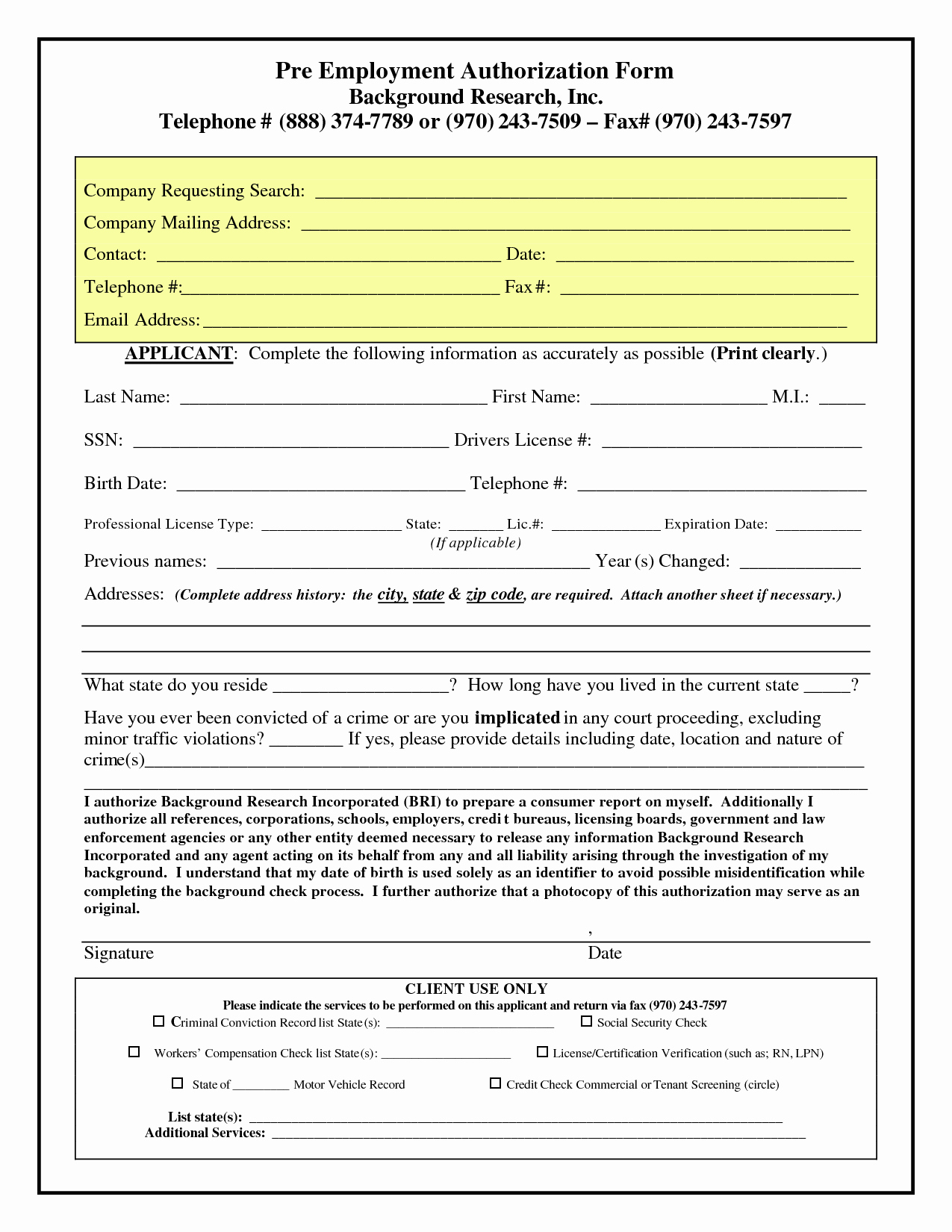 Background Check Authorization form Template Beautiful 26 Of Pre Employment Background Check Application