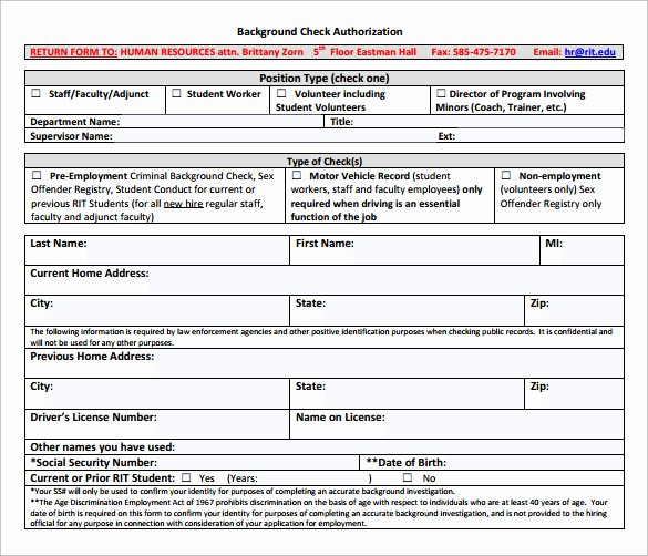 Background Check Authorization form Template Elegant Background Check form 7 Download Free Documents In Pdf