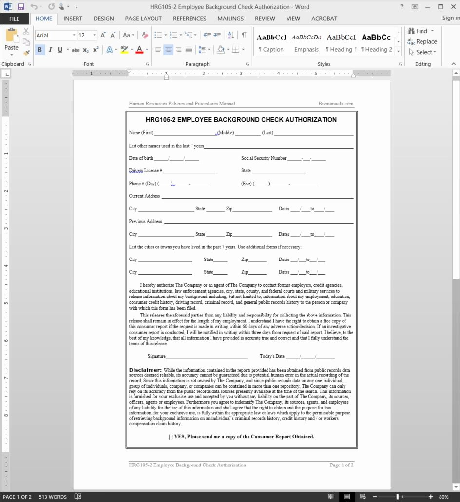 Background Check Authorization form Template Fresh Employee Background Check Authorization Template